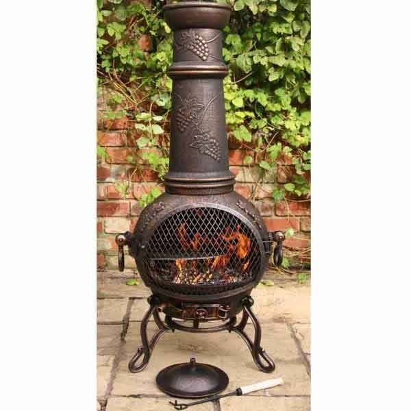 Chiminea Barbecue: Solid Cast Iron Chimenea And BBQ Combi Bronze Chiminea