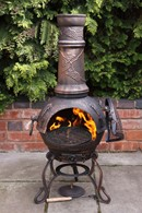 Bronze Grapes Cast Iron Chimenea and BBQ Combined