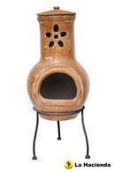 Traditional Clay Chimenea with Flower Cut Out
