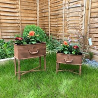 Two Tall Rust Effect Shabby Chic Planters
