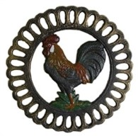Vintage Cast Iron Trivet Rooster Work Top Saver