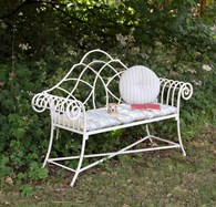 Vintage Style Garden Bench in Cream or Black