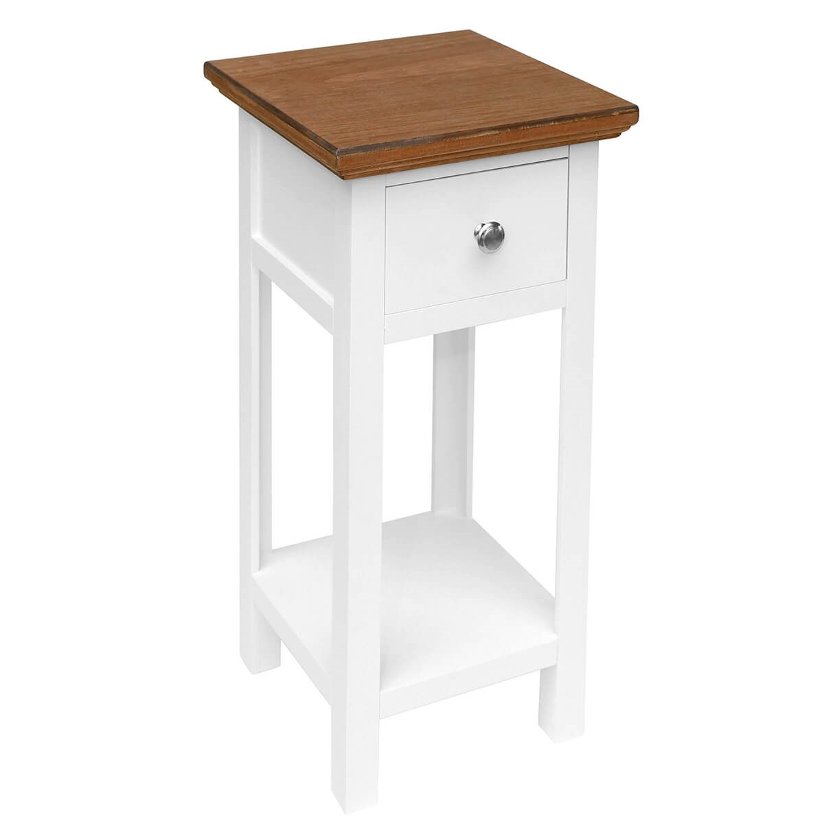 White Bedside Table with Wooden Top