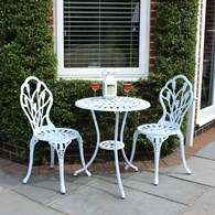 White Cast Aluminium Bistro Set Garden Furniture