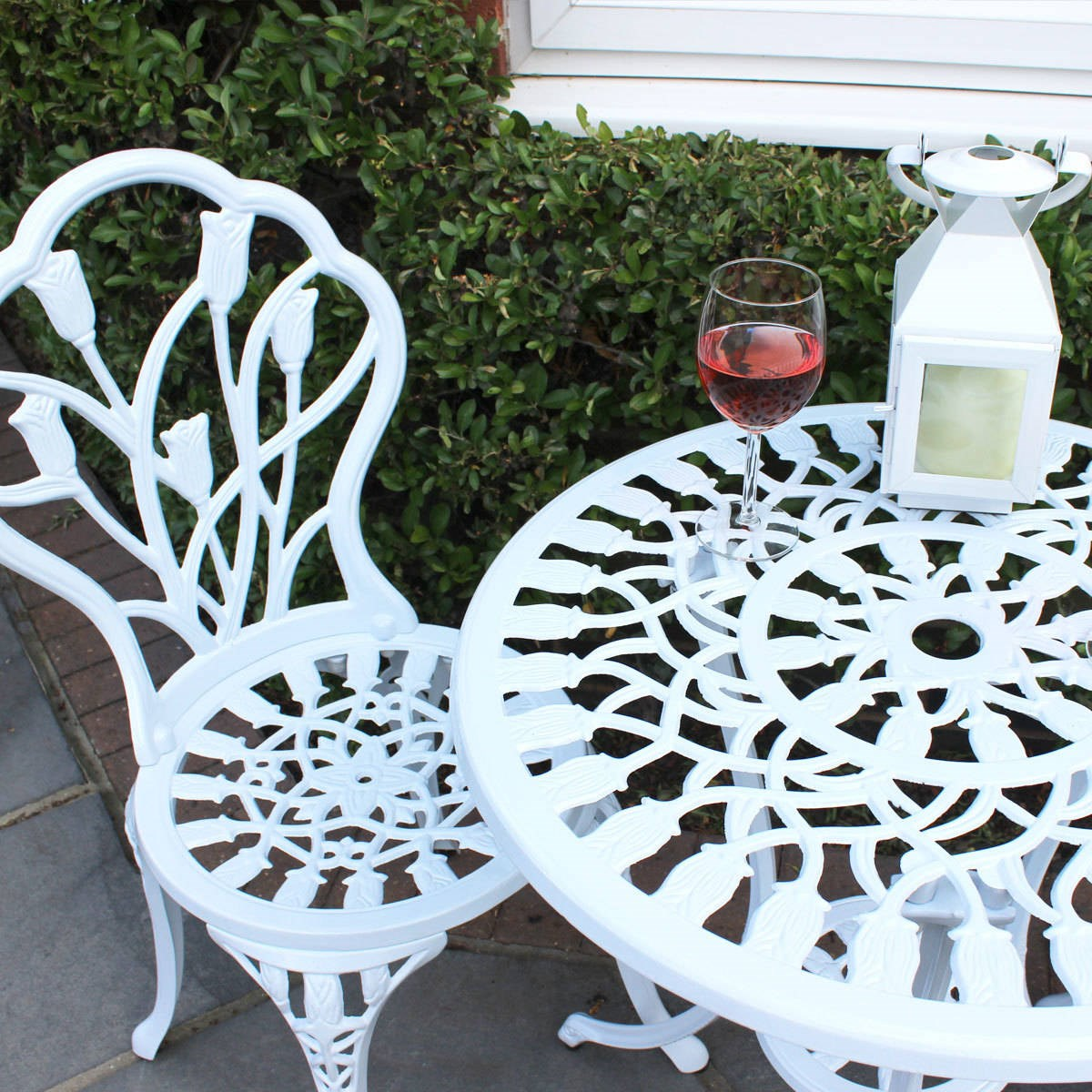 white cast aluminium bistro set garden furniture. Black Bedroom Furniture Sets. Home Design Ideas