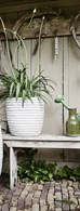 White Ribbed Vase Planter Various Sizes