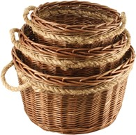 Willow Log Baskets Set of Three