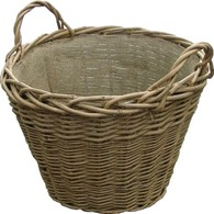 Willow Log Basket with Hessian Lining