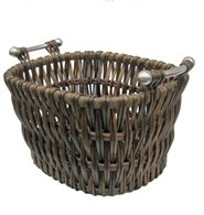 Willow Log Basket with Metal Handles