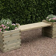 Wooden Bench with Planters