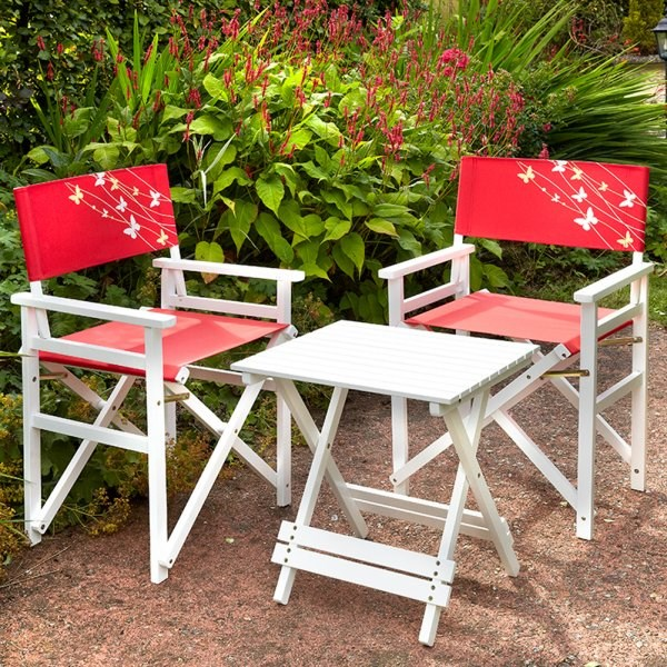 wooden bistro set with director chairs various colours