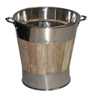 Wooden Coal Bucket with Stainless Steel Trim Set of 2