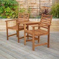Wooden Companion Garden Seat with Table