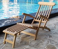 Wooden Sun Lounger with Four Reclining Positions