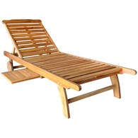 Wooden Sun Lounger with Tray