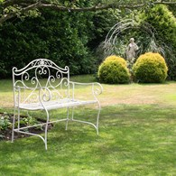 Wrought Iron Heart Bench in White or Black