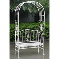 Wrought Iron Garden Arch with Bench