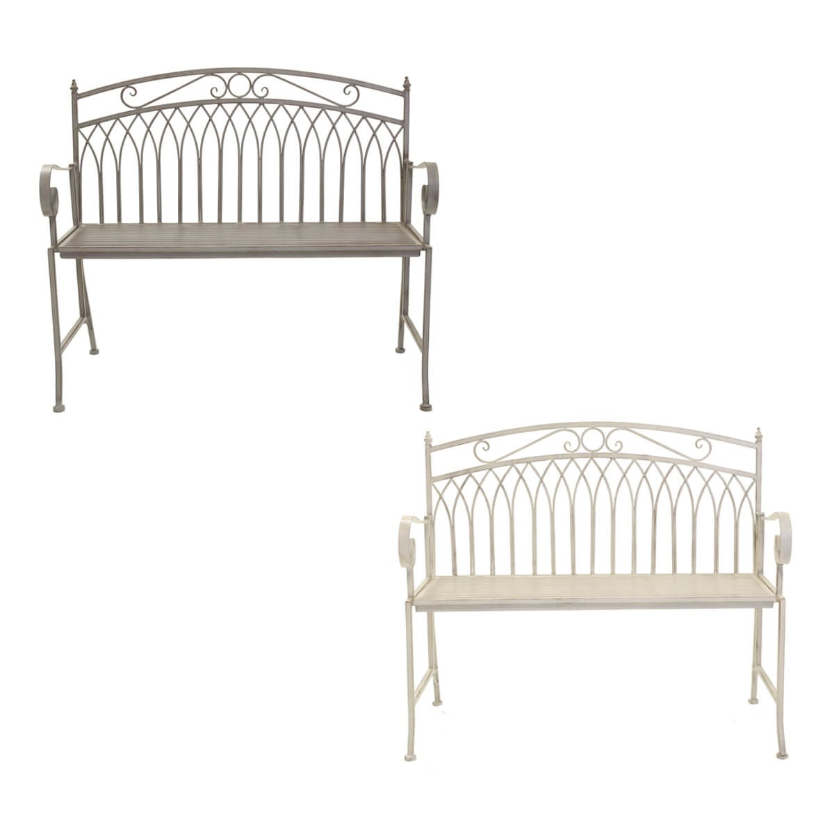Wrought Iron Garden Bench Grey or White