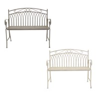 Wrought Iron Garden Bench Grey or White