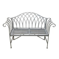 Wrought Iron Garden Bench In Grey