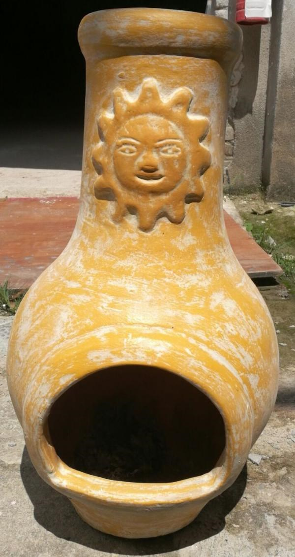 Yellow Clay Sun Chimenea