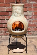 Yellow Sun Clay Chimenea